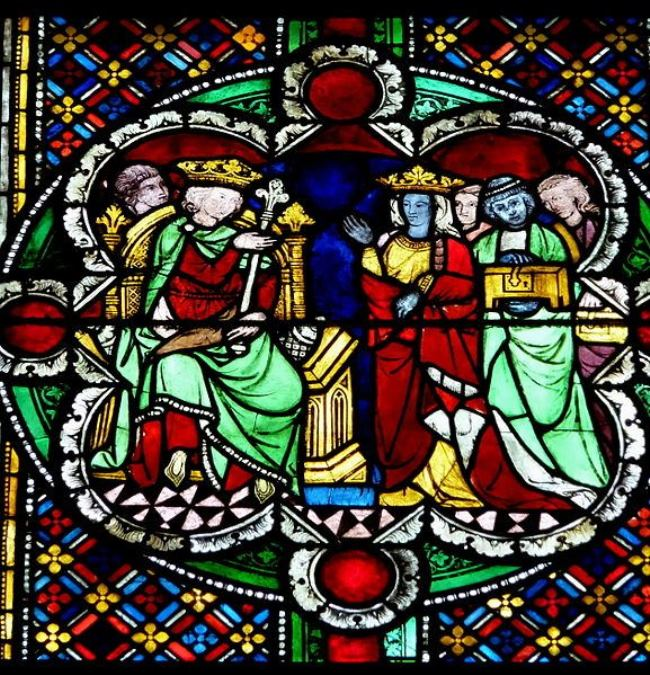 Meeting of Queen and Solomon, stained glass window in Cologne Cathedral