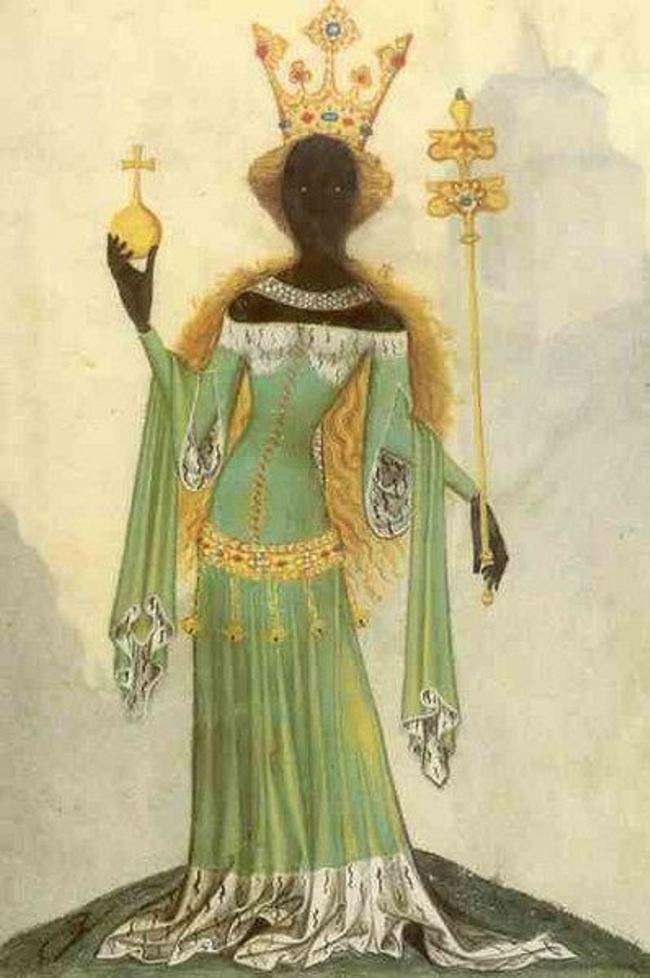 Queen of Sheba. A miniature from a medieval German manuscript